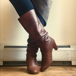 Brown Leather Mid Calf Slouchy Boots